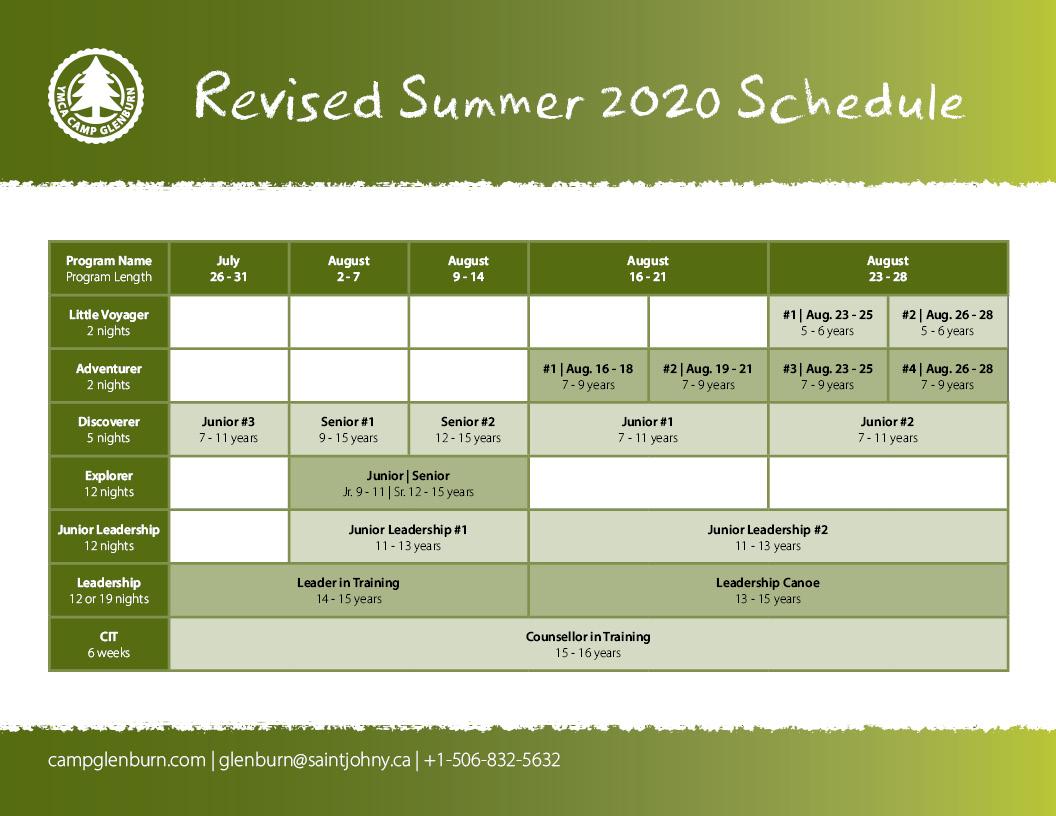 Camp Glenburn Revised Summer 2020 Schedule